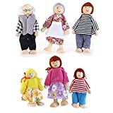 ROSENICE 6pcs Holzpuppe Spielzeug Cartoon Familie Puppen für Kinder Spiel Haus...